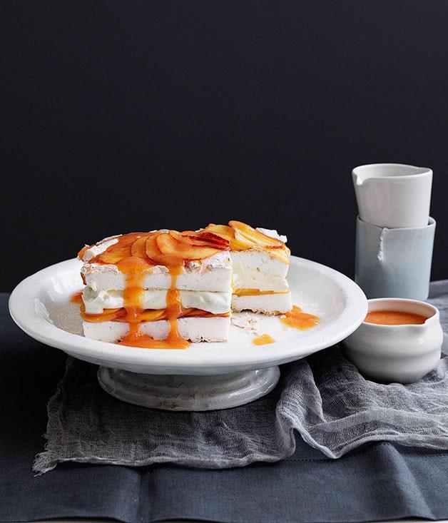 **Peaches and cream meringue cake**