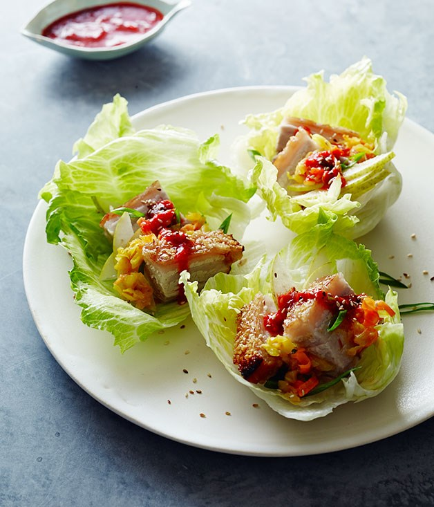 Roast Korean pork lettuce cups with ssämjang