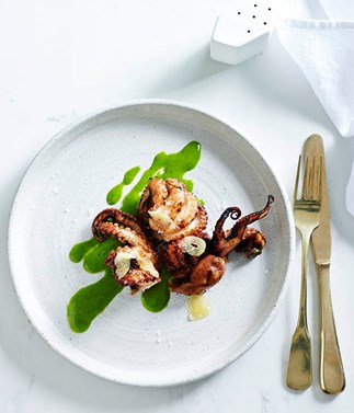Tumbled octopus with smoked garlic, honey and green mustard
