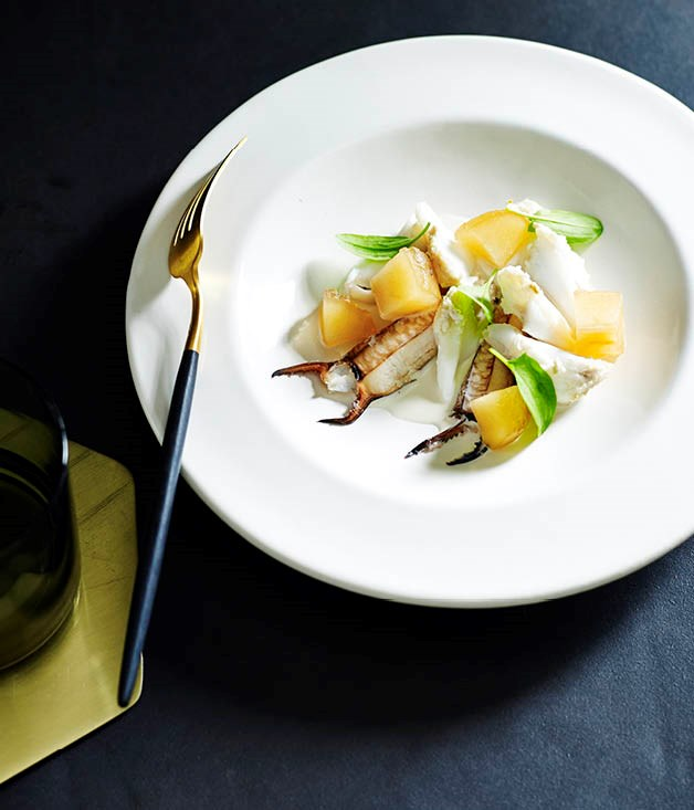 Blue swimmer crab, almond and preserved apple