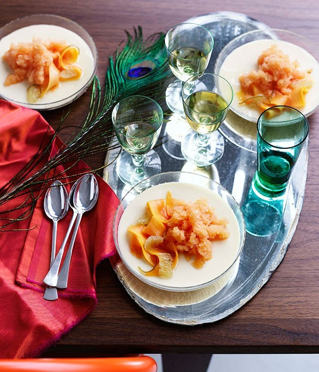 **Coconut panna cotta with papaya, lime and vanilla**