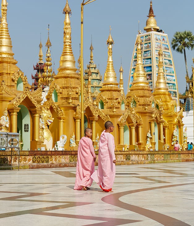 **** Buddhist nuns at the Shwedagon Pagoda in Yangon, also known as the Golden Pagoda