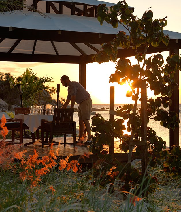 A pavilion on the sand at Lizard Island resort for private dining