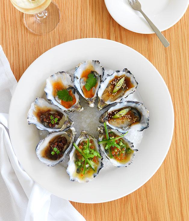 **** Tasmanian oysters with caviar salsa, mignonette, nahm jim and ponzu dressing at the resort's restaurant