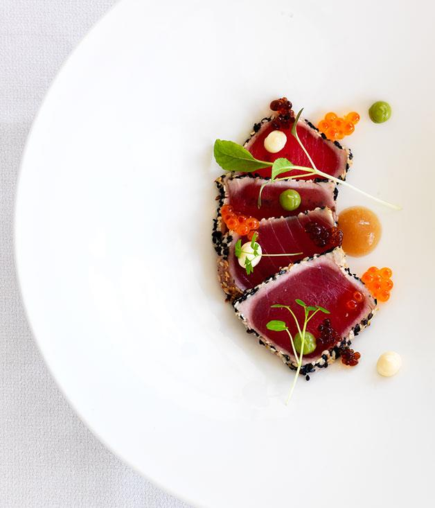 **** Yellowfin tuna tataki with wasabi avocado, wakame and soy pearls