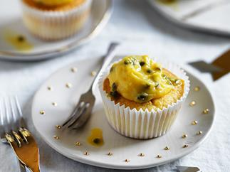 Coconut cupcakes with passionfruit curd