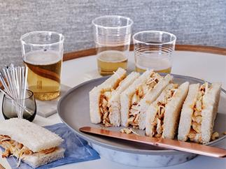 Spicy lobster tea sandwiches with green mango and chilli relish