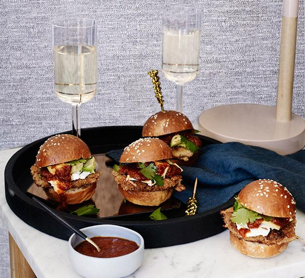 Veal schnitzel rolls with chipotle sauce