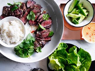 Lime and coconut marinated short ribs