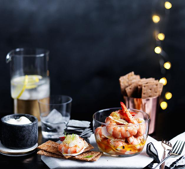 Pickled prawns and fennel with rye crackers