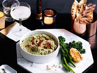 Broccoli dip with charred flatbreads