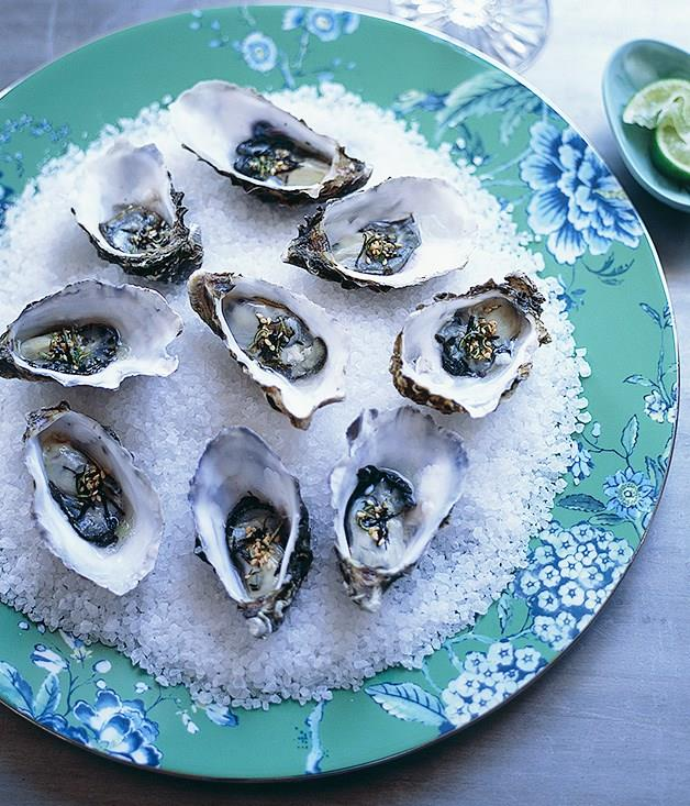 **Oysters with wasabi nori and lime dressing**