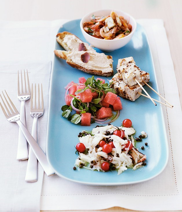 **Swordfish kebabs with watermelon salad**