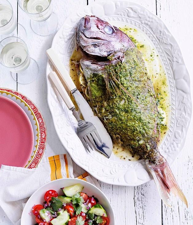 **Spiced whole snapper with tomato and cucumber salad**