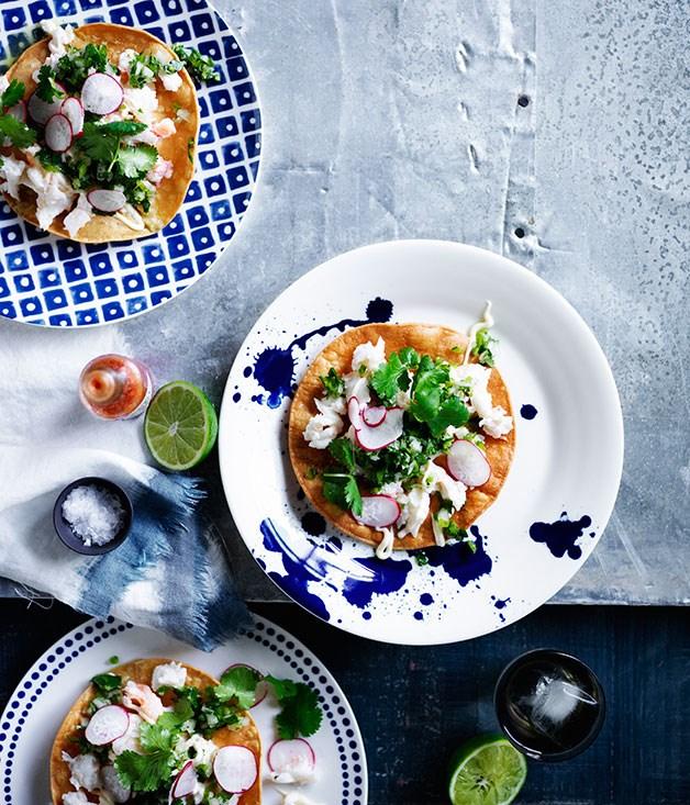Tostadas with radish, crab and jalapeño salsa