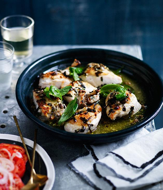 "**[Chicken roasted with wine, basil and capers](http://www.gourmettraveller.com.au/recipes/fast-recipes/chicken-roasted-with-wine-basil-and-capers-13652|target=""_blank"")**"