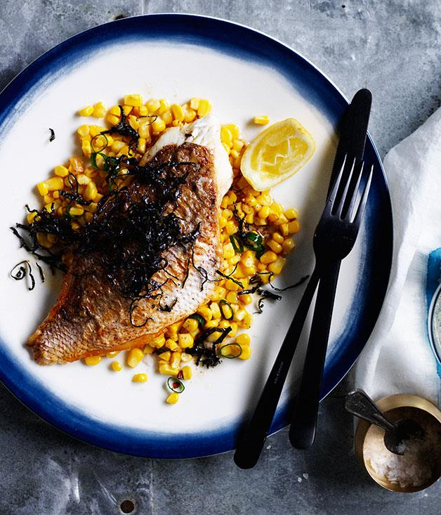 """**[Snapper with corn salad, burnt butter and shredded nori](https://www.gourmettraveller.com.au/recipes/fast-recipes/snapper-with-corn-salad-burnt-butter-and-shredded-nori-13653