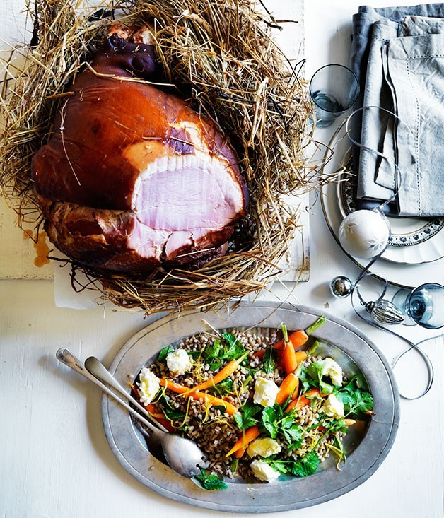 **Ham baked in hay with roast carrot and barley salad**