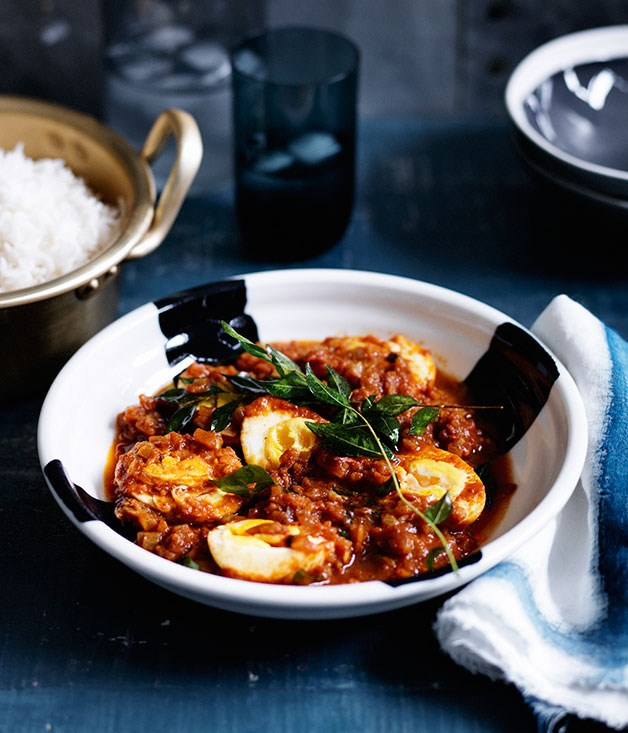 """**[Indian-style curried eggs with rice](https://www.gourmettraveller.com.au/recipes/fast-recipes/indian-style-curried-eggs-with-rice-13655 target=""""_blank"""")**"""
