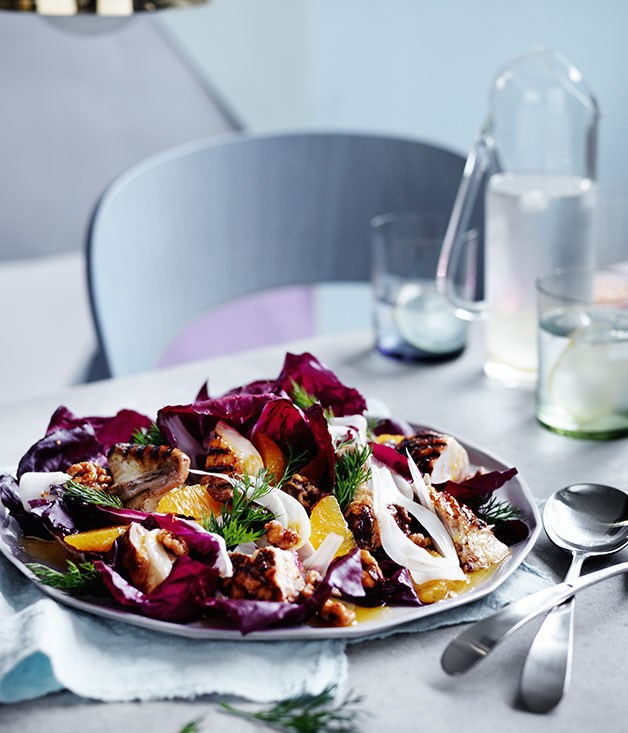 Grilled chicken with radicchio, fennel and walnuts