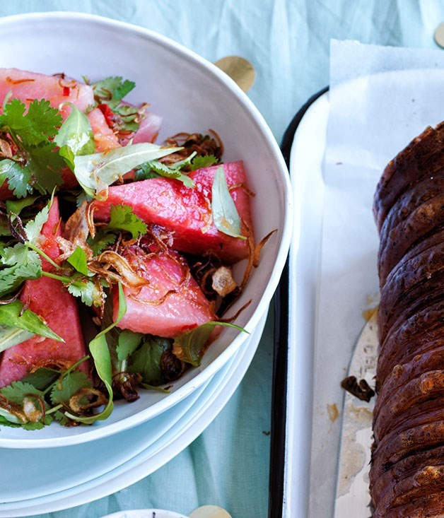 **Watermelon salad with fried shallots**