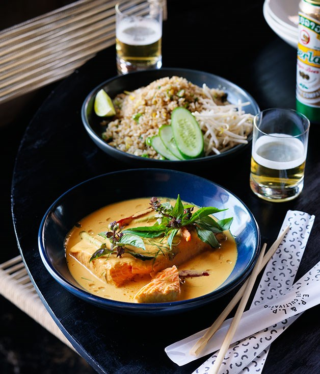 "[Louis Tikaram's (EP & LP) turmeric and coconut salmon curry](http://www.gourmettraveller.com.au/recipes/chefs-recipes/turmeric-and-coconut-salmon-curry-8344|target=""_blank"")"