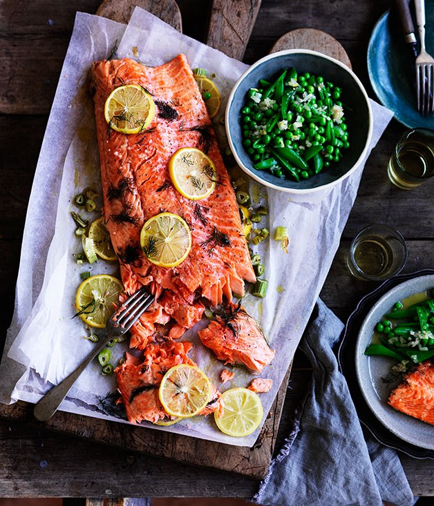 "**[Slow-cooked ocean trout with peas, and Meyer lemon and fennel salsa](https://www.gourmettraveller.com.au/recipes/chefs-recipes/slow-cooked-ocean-trout-with-peas-and-meyer-lemon-and-fennel-salsa-8349|target=""_blank"")**"