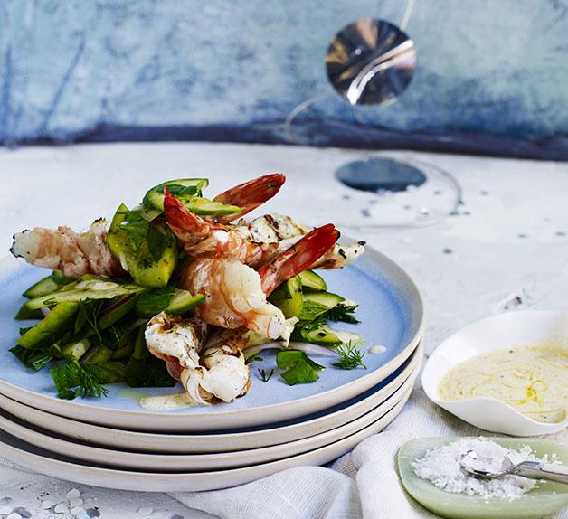 Barbecued prawns with pickled and grilled cucumber