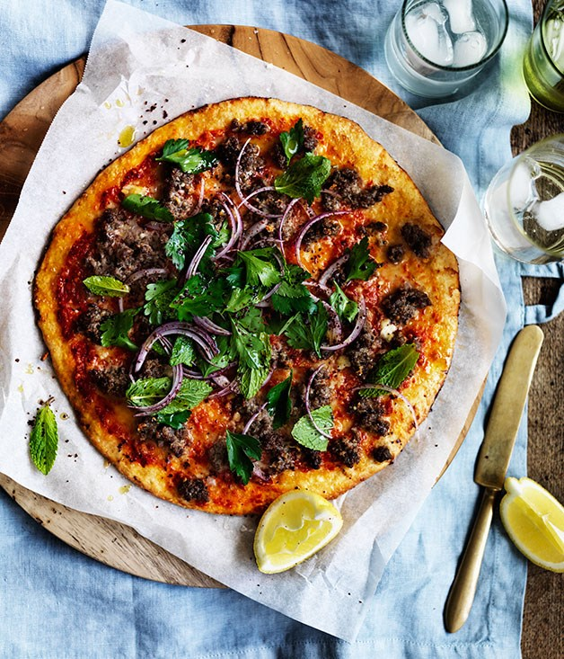 Spiced lamb pizza with onion, mint and sumac