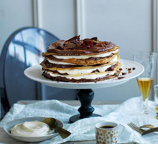 Chocolate coffee crepe cake