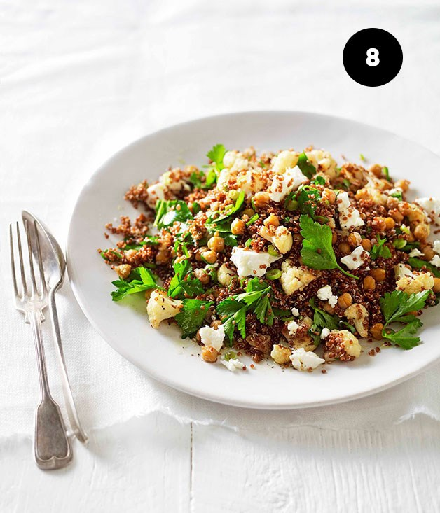 "**W[arm roast cauliflower, chickpea and quinoa salad](https://www.gourmettraveller.com.au/recipes/fast-recipes/warm-roast-cauliflower-chickpea-and-quinoa-salad-13204|target=""_blank"")**"