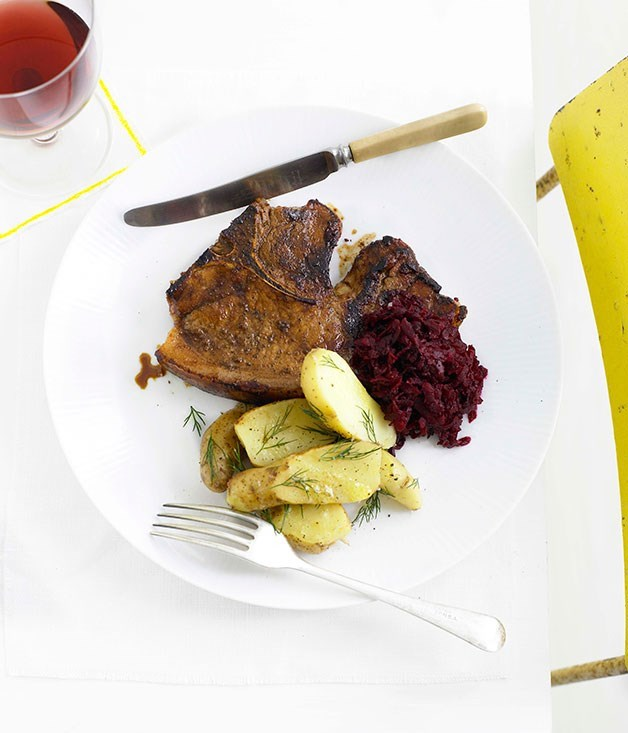 **Spiced pork chops with beetroot relish**