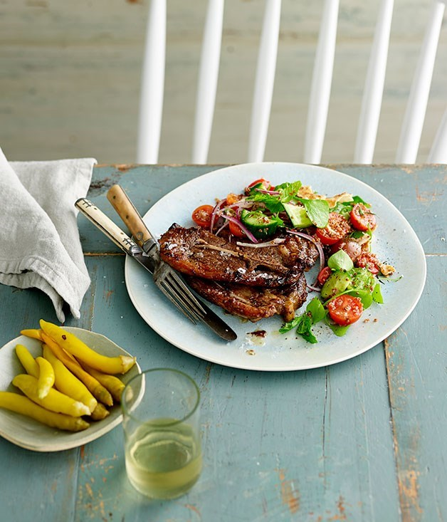 **Sumac and mint-grilled lamb chops with quinoa fattoush**