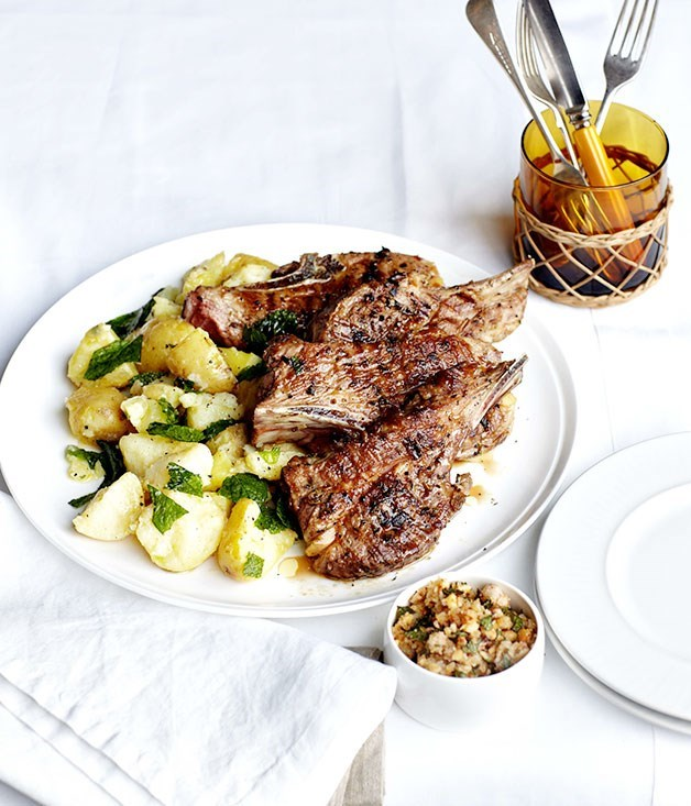 **Barbecued lamb neck chops with hazelnut picada and crushed butter potatoes**