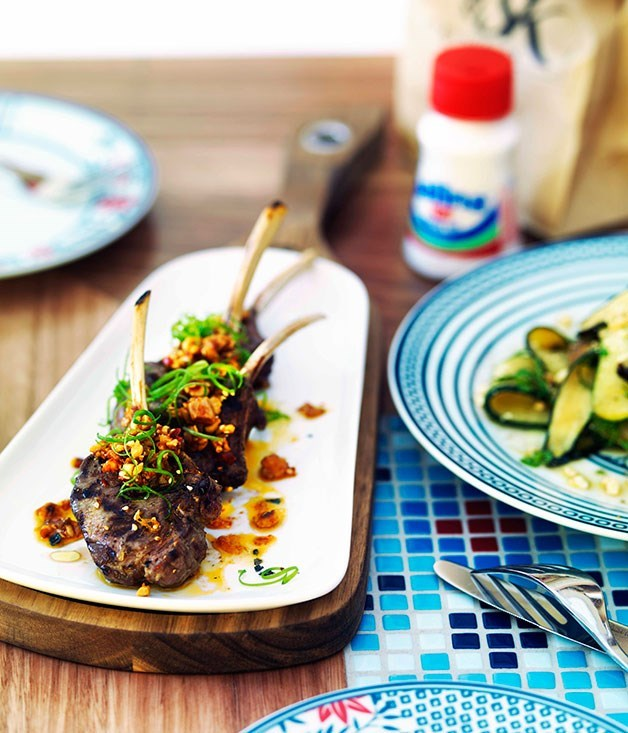 **Char-grilled lamb with green chilli and sesame sauce**