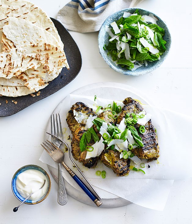 **Spiced lamb with coconut, mint and lime sambal**