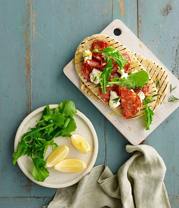 "**[Spicy salami piadine with ricotta, rosemary and rocket](https://www.gourmettraveller.com.au/recipes/fast-recipes/spicy-salami-piadine-with-ricotta-rosemary-and-rocket-13393|target=""_blank"")**"