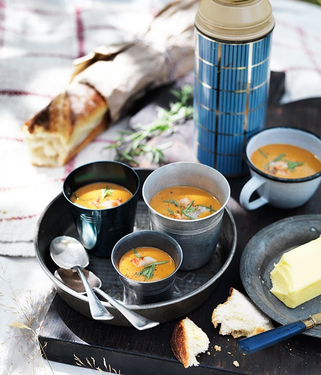 "**[Prawn bisque](https://www.gourmettraveller.com.au/recipes/browse-all/prawn-bisque-12074|target=""_blank"")**"