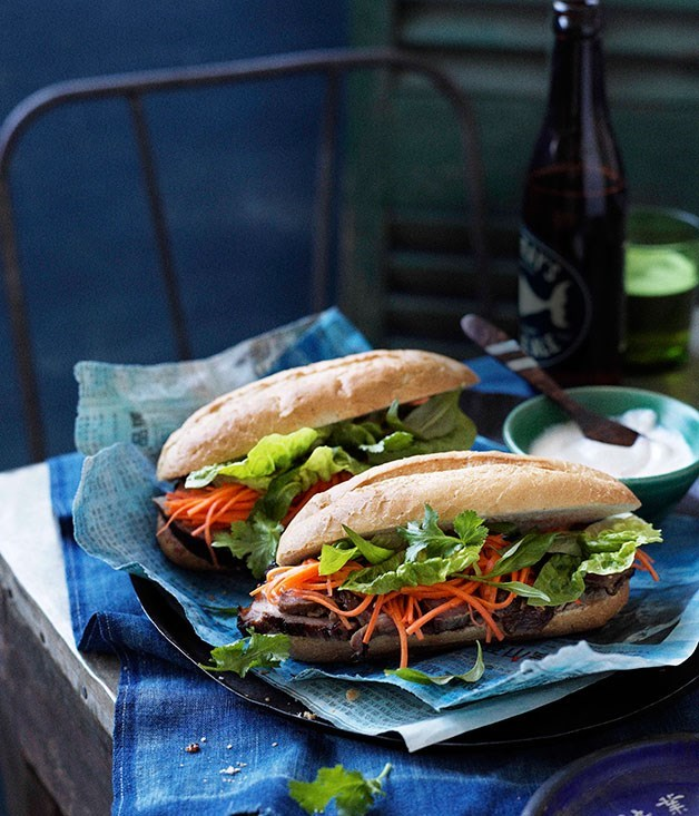 "**[Lemongrass pork banh mi](https://www.gourmettraveller.com.au/recipes/browse-all/lemongrass-pork-banh-mi-11545|target=""_blank"")**"