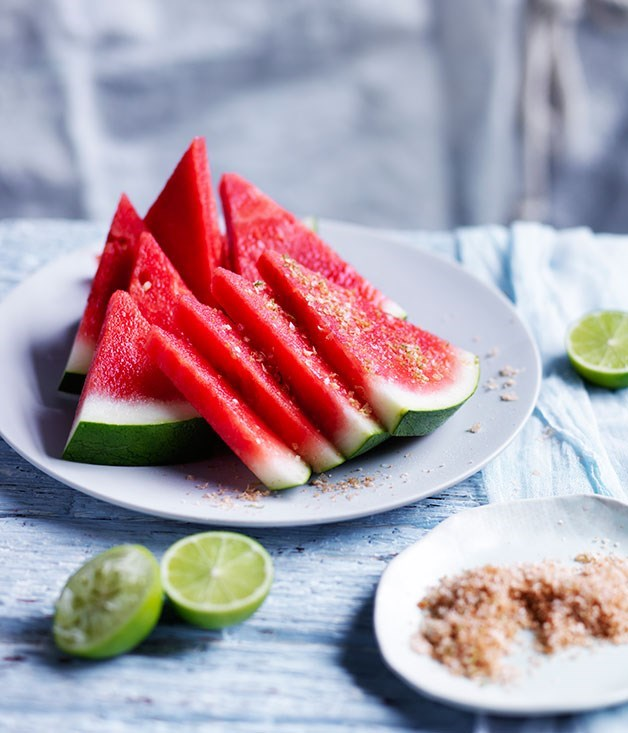 "**[Chilled watermelon wedges with chilli-lime salt](https://www.gourmettraveller.com.au/recipes/browse-all/chilled-watermelon-wedges-with-chilli-lime-salt-12190|target=""_blank"")**"