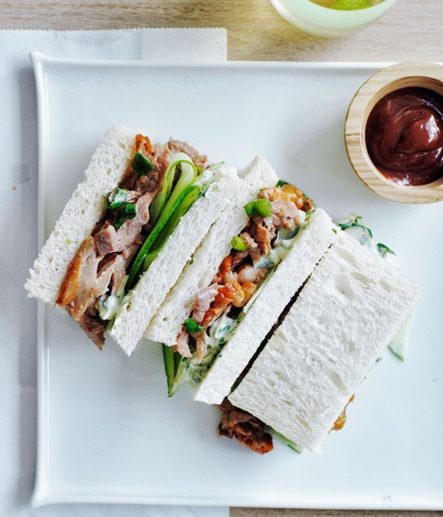 "**[Peking duck and cucumber tea sandwiches](https://www.gourmettraveller.com.au/recipes/browse-all/peking-duck-and-cucumber-tea-sandwiches-12059|target=""_blank"")**"
