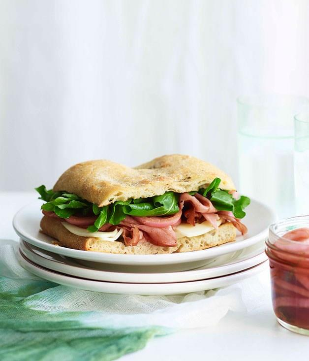 """[**Mortadella sandwich with pickled onions and provolone**](https://www.gourmettraveller.com.au/recipes/fast-recipes/mortadella-sandwich-with-pickled-onions-and-provolone-13349