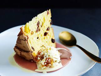 Peachy panettone with cassata ice-cream