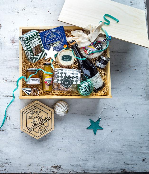 """**Gourmet Traveller Christmas Hamper** With the help of our friends at Snowgoose we've put together what we hope you'll agree is a bobby-dazzler of a hamper. Working with the all-killer, no-filler rule, it's crammed with gingerbread from Baker D Chirico, Mason Clarke jam, Dessertmakers sour cherry pudding, St Ronan's pear cider, and many other delectable offerings from near and far,andtwo kinds of cheese, naturally. _$195, [snowgoose.com.au](https://www.snowgoose.com.au/ """"Snowgoose"""")_"""