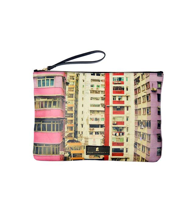 """**Hunt Leather Clutch** Hold the world in your hand. Hunt's Busycity collection features architectural snapshots of cityscapes around the world, printed onto soft cowhide, with gold toned metal hardware._$495, [huntleather.com.au](http://www.huntleather.com.au/ """"Hunt Leather"""")_"""