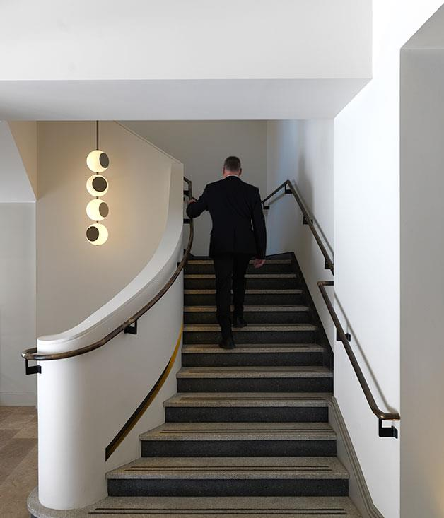 **** Bauble lights by Flynn Talbot light the stairs.
