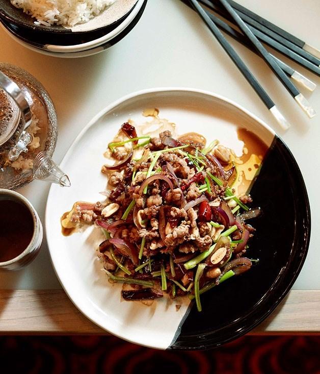 "[Stir-fried chopped duck with coriander and black vinegar](https://www.gourmettraveller.com.au/recipes/chefs-recipes/neil-perry-stir-fried-chopped-duck-with-coriander-and-black-vinegar-7464|target=""_blank"")"