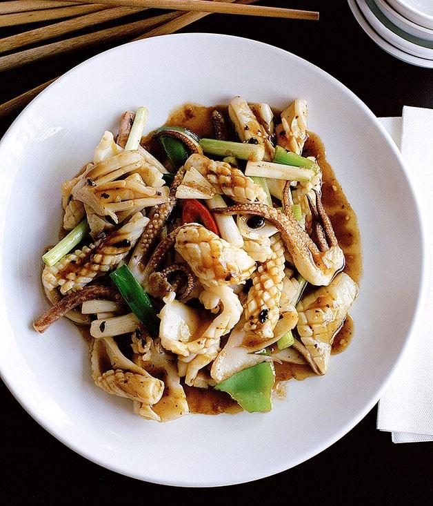 "[Stir-fried squid with black bean](https://www.gourmettraveller.com.au/recipes/browse-all/stir-fried-squid-with-black-bean-9831|target=""_blank"")"