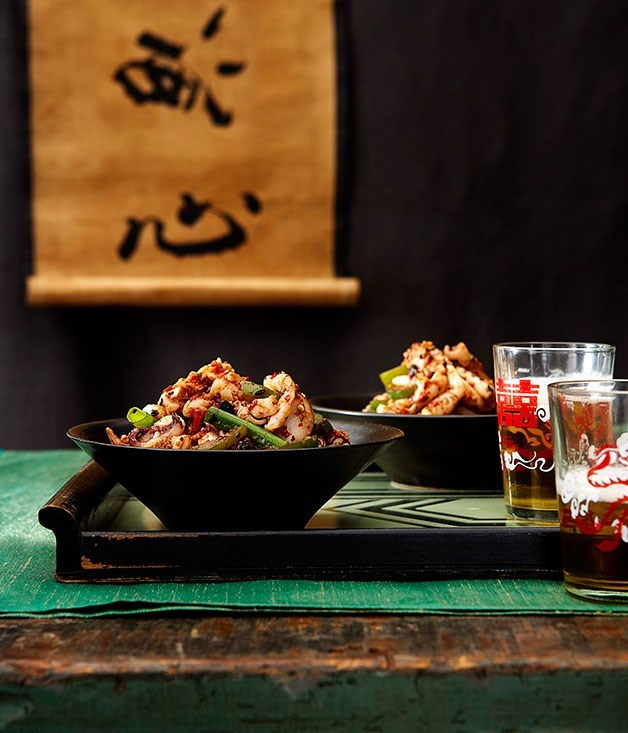 "[Stir-fried calamari with chilli and black bean sauce](https://www.gourmettraveller.com.au/recipes/chefs-recipes/stirfried-calamari-with-chilli-and-black-bean-sauce-7302|target=""_blank"")"