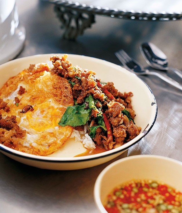 "[Stir-fried minced beef with chillies and holy basil (neua pat bai grapao)](https://www.gourmettraveller.com.au/recipes/chefs-recipes/david-thompson-stir-fried-minced-beef-with-chillies-and-holy-basil-neua-pat-bai-grapao-7362|target=""_blank"")"